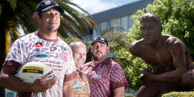 The Murri Queensland Indigenous side are visiting Rotorua to play a match against the New Zealand Maori XIII. Pictured are, from left, captain Bobby Nona, tour organiser Troy Byers and Arthur Beetson Foundation chief executive Kristian Beetson. Photo / Ben Fraser