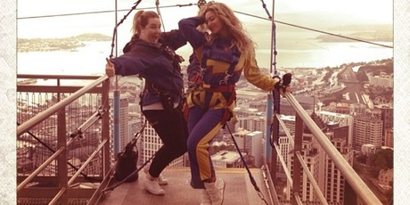 Beyonce jumped off the Auckland Sky Tower twice.Photo / Instagram