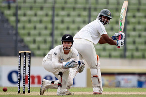 Tamim Iqbal plays a shot on the first day of the second cricket test match against New Zealand in Dhaka, Bangladesh. Photo / AP
