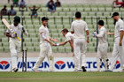 Teammates congratulate New Zealand's Neil Wagner, third left, for taking the wicket of Bangladesh's Marshall Ayub. Photo / AP