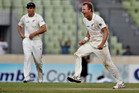 New Zealand's Neil Wagner celebrates the wicket of Bangladesh's Tamim Iqbal with teammate Ross Taylor. Photo / AP