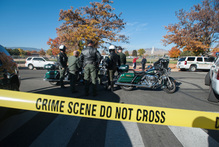 Police secure the scene near Sparks Middle School after a shooting in Sparks, Nevada. Photo / AP
