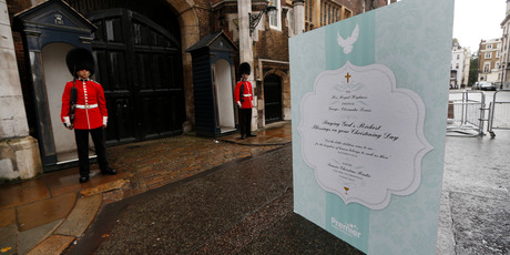 A giant christening card, signed by 5,000 Christians, for Prince George and the royal family is outside Chapel Royal, St James's Palace in London.Photo / AP