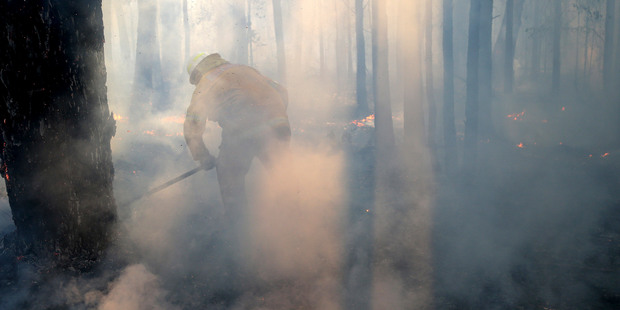 Firefighters mop up and check for reflash after a firestorm swept through a property in Bilpin. Photo / AP