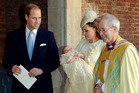 Britain's Prince William, right, Kate Duchess of Cambridge with their son Prince George leave the Chapel Royal.\ Photo / AP