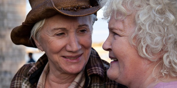 Olympic Dukakis (left) and Brenda Fricker play a lesbian couple in Cloudburst.