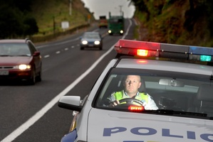 Sergeant Mike Owen patrols the area's highways ahead of the long weekend. Photo / John Boren