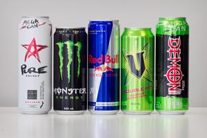 Energy Drinks: (from left) Pure Energy, Monster, Red Bull, V and Demon. Photo / Natalie Slade