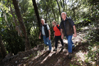COMMITTED TRIO: Pukenui Trust team Gerry Brackenbury, left, Jane Norman and Max Hutchings are meeting their goals to see new species of birds being released into the forest. PHOTO/MICHAEL CUNNINGHAM