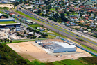 Aerial view of a new warehouse and office facility under construction in Truman Lane, Mt Maunganui.
