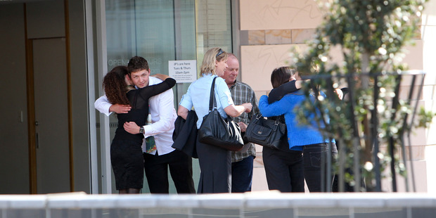 Family and friends of Gail Bower leaving the Napier Court House after the sentencing of her killer.  Photo / Glenn Taylor