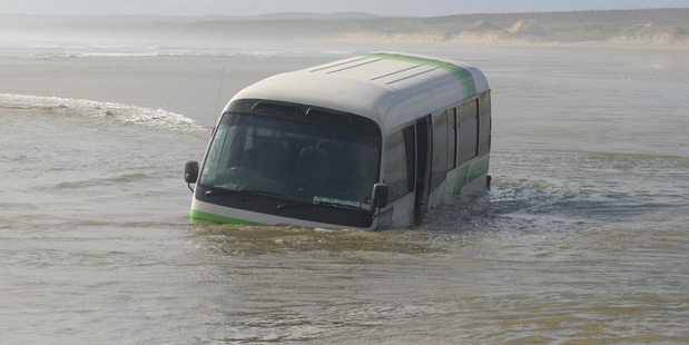 Submerged bus on 90 Mile Beach.