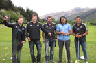 All Blacks, from left, Cory Jane, Richie McCaw, Andrew Hore, Ma'a Nonu and Francis Saili at The Hills, near Arrowtown. Photo / Otago Daily Times