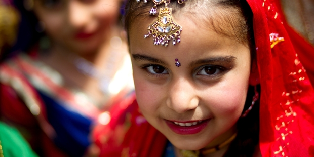 A young dancer dressed for the Diwali festival. Photo / Dean Purcell