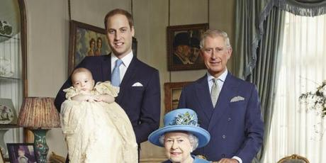 The Queen, her son Prince Charles, her grandson Prince William and great-grandson, Prince George.Photo / Jason Bell
