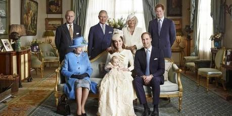 The Queen, Prince Philip, Prince Charles, Camilla, Prince William, his wife Kate, and son Prince George.Photo / Jason Bell/Camera Press