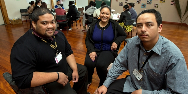 Joe Sefo, left, Nadia Maliukaetau, centre, and Raiden Herekotukutuku have all just completed the Auckland Chamber of Commerce's pilot two-week pre-employment course. Photo / Brett Phibbs