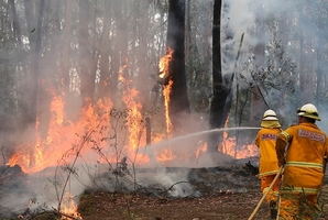 Firefighters try to control flames near houses at Bilpin, west of Sydney. Photo / AP