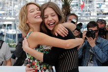 Lea Seydoux and Adele Exarchopoulos at the Cannes Film Festival. Photo / AP