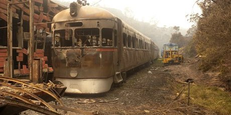 The remains of Zig Zag Railway's Rail Motor 2016 after a bushfire swept through the Australian heritage railway line near Lithgow in the Blue Mountains. Photo/ AAP, Supplied by Zig Zag Railway