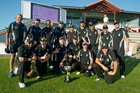 Hawke's Bay senior men's representative team celebrate retaining the Chapple Cup yesterday. Photo / Warren Buckland