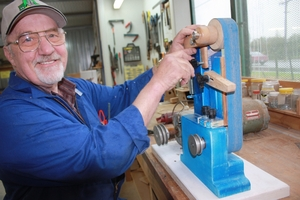 SHED-MAN: Eddy Tryselaar with his wooden vertical sander. PHOTO/SUPPLIED