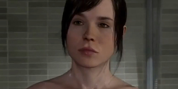 Ellen Page as she appears in the shower scene in Beyond: Two Souls. Photo / YouTube
