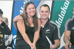 ON THE SPOT: Kirsty Blenkiron and Israel Dagg after her son asked the rugby player to marry her.