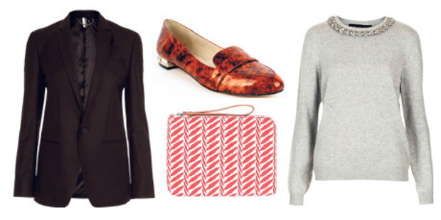 Simple, smart, sensible: live by this mantra for the rest of your working life. Topshop blazer, $175, and knit, $95, from The Department Store. Kathryn Wilson flat $289. Country Road iPad case $34.90.