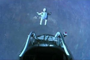 Felix Baumgartner jumping from almost 39,000 metres. Photo / Creative Commons