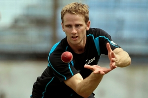 Kane Williamson fractured his left thumb fielding yesterday.Picture / AP