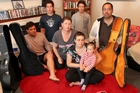 Waireka Te Meihana, Rowe Te Meihana, mother Tracy Te Meihana, Harmony Te Meihana, Eve Te Meihana, 1, Jessy Wilson-Rowe and father Kiri Te Meihana at their Hastings home after burglars stole their music. Photo / Glenn Taylor