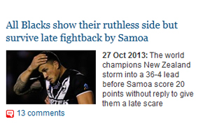 The Guardian website referring to the Kiwis as the All Blacks.