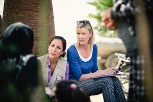 Rachel Smalley talks to others from the war-torn country.