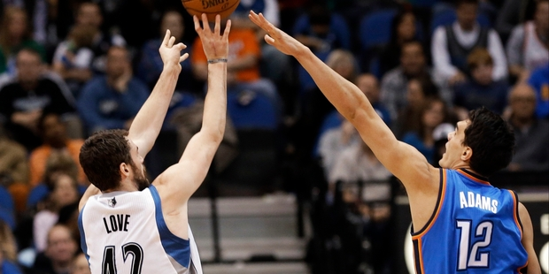 Steven Adams scored eight points and grabbed eight rebounds in yesterday's NBA game between Oklahoma and Minnesota. AP