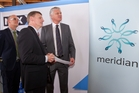 Ministers Tony Ryall, left, and Bill English with Mark Binns, Meridian chief executive, at the sharemarket debut of Meridian last month. Photo / Mark Mitchell