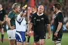 The All Blacks are hoping for refereeing in Europe similar to that of Nigel Owens in Johannesburg last month. Photo / Getty Images