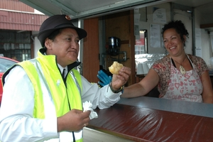 Ruahine Maori Warden, Charmaine Kupa, was enjoying morning tea at the Pania Kingi's fried bread van on High St during the Viking day market on Friday.