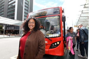 "Auckland bus passenger Belinda Pollett says she often encounters ""bus bunching"". Photo / Chris Gorman"