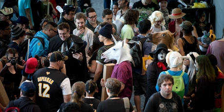 Only about 2000 of the 25,000 strong crowd at Armageddon seemed to make it beyond the blockbuster expos to find local authors and artists. Photo / Richard Robinson