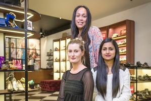 Overland Footwear store manager Chrissy Guinibert (left) and assistant managers Hope Reynolds and Tas Ali in the Botany store. Photo / Ted Baghurst