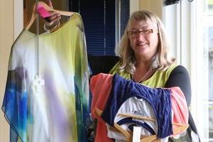 SHOW: Brain Injury Association Northland (BIAN) liaison officer Vikki Herdman with some of the garments ready for the runway. PHOTO/ JOHN STONE