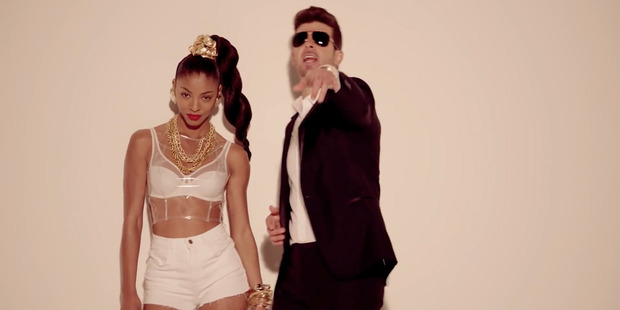 Robin Thicke in his video for Blurred Lines. Photo / YouTube
