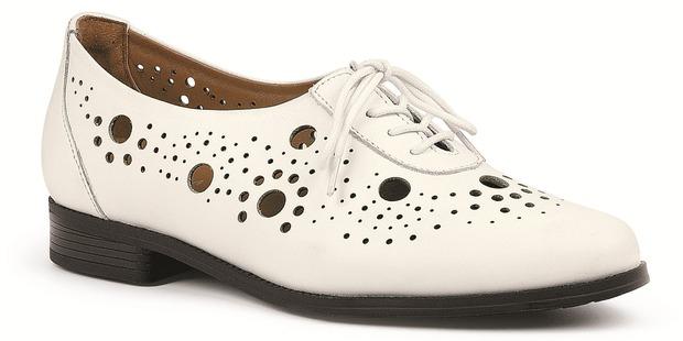 Ziera white leather Bradford flats $229.