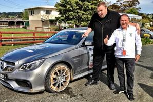 Kim Dotcom after bursting a tyre during Targa NZ. Photo / Twitter/@KimDotcom