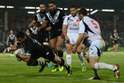 Bryson Goodwin of New Zealand goes over for a try during the Rugby League World Cup group B match between New Zealand and France. Photo / Getty Images.