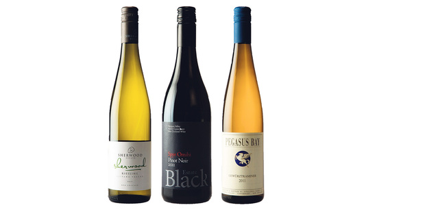 L-R: Sherwood Estate Waipara Valley Riesling 2012. Black Estate Spye Omihi Waipara Valley Pinot Noir 2011. Pegasus Bay Waipara Gewurztraminer 2011. Photo / Supplied.