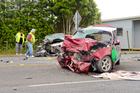 A kaumatua (Maori elder) blesses the scene of a double fatal crash in Northland. Photo / Malcolm Pullman