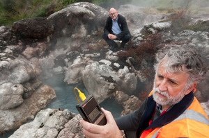 MAGMA MAN: GNS Science volcanologist Brad Scott in action measuring the temperature of Papakura geyser. PHOTO/BEN FRASER 111013BF4