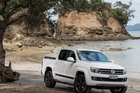 The Amarok R adds a splash of flamboyance to the line-up with its combination of white body and 20-in black powder-coated Scorpio alloys. Pictures / Ted Baghurst